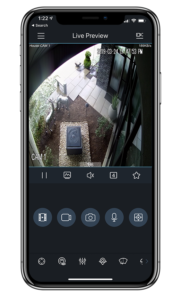 smart phone app displaying video surveillance daytime image